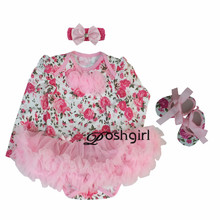 Pink Rose Baby Girl Clothes Newborn Bebe Party Dress Minnie Baby Born Clothing 3pcs Tutu Rompers Dresses Birthday roupas de bebe(China)