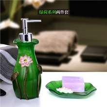 Creative Bathroom Set piece green lotus series toiletries hand for Bath sanitizer bottle box bath suite toothpaste dispense