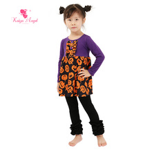Kaiya Angel Halloween Toddler Clothing Wholesale Baby Boutique Clothing Fall Winter Clothes Pumpkin Purple Shirt Leggings Suit(China)