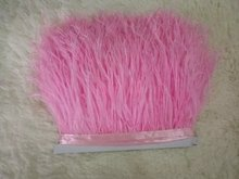 Free Shipping 20 meters Pink ostrich feather fringe 8-10cm ostrich feather trim costume crafts decor design fether trim decor