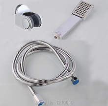 Newly US Free Shipping Contemporary Chrome Finished ABS Plastic Square Hand Shower Sprayer W/ Shower Hose And Bracket