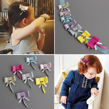 7pcs/lot 7colors Girls Cute Elephant Hair Clips with High Quality Ribbon Lined for Kids  DIY Hair Accessories