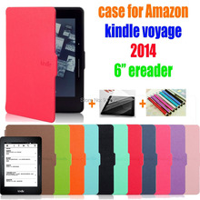 for amazon kindle voyage 6'' ereader 2014 protective cover smart case +screen protector+stylus as gift(China)