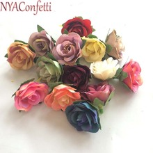 NYAC,3.5CM Head,80PCS Rose Heads Artificielle,Artificial Silk Mini Hibiscus For Bridesmaid Wrist Corsage,Garland,Scrapbooking(China)