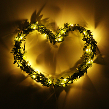 3m 30-LED Green Leaves Garland Copper Wire String Light Fairy Lights for Glass Craft Bottle Fairy Valentines Wedding Lamp Party