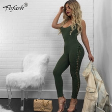 Pofash Autumn Winter Jumpsuits Women 2017 New Body Sexy Lace Up Bandage Rompers Bodycon Solid Club Party Jumpsuits Overalls