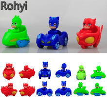 2017 Hot Sale Rohyi PJ Masks Characters Slide Cars Catboy Owlette Gekko Cloak Action Figures One Piece Toys For Boy's Gifts