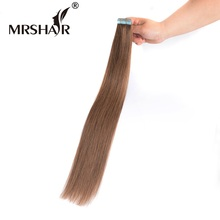 "MRSHAIR 6# Skin Weft Human Hair Straight 20pcs Tape In Extension Non Remy Double Sided Tape Hair Brown 16"" 18"" 20"" 22"" 24"""