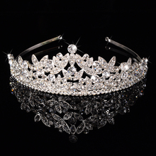 New silver-jewelry Europe and United States handmade alloy Bride crown jewelry crystal headdress wedding accessories tiara