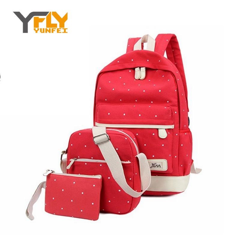 Y-FLY Fashion Backpacks for Teenager Grils 3pcs/set Top Canvas New Casual Womens Backpack Preppy Computer Travel Bags HC5045-1<br><br>Aliexpress