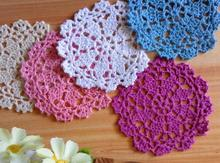 HOT cotton placemat cup coaster mug holder kitchen accessory Handmade table place mat cloth lace round Crochet cake doily pad