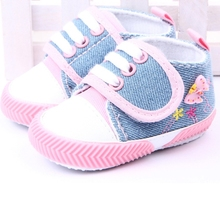 Butterfly Printed Canvas Baby Shoes Infant Girls Soft Sole Shoes Booties Newborns Prewalker 0-1Y