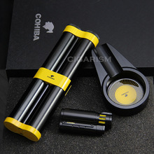 COHIBA Black&Yellow Ashtray Hydrating 2 Tube Cigar 3 Torch Lighter Set