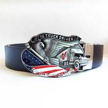 T-Disom Western The Truck Driver American Hero Belt Buckle In Zinc Alloy Material Come With 130cm Belts Drop shipping