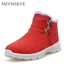 MIVNSKVE 2017 New Fashion Fur Female Warm Ankle Boots Suede Leather Women Boots Snow Boots Europe Autumn Winter Women Shoes