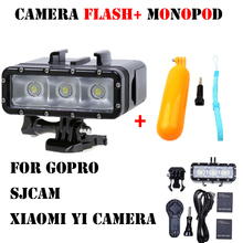 Gopro flash light Underwater diving Led Flash Light + monopod tripod For Gopro Hero 4 3+ 3 Session sj4000 xiaomi yi accessories(China)
