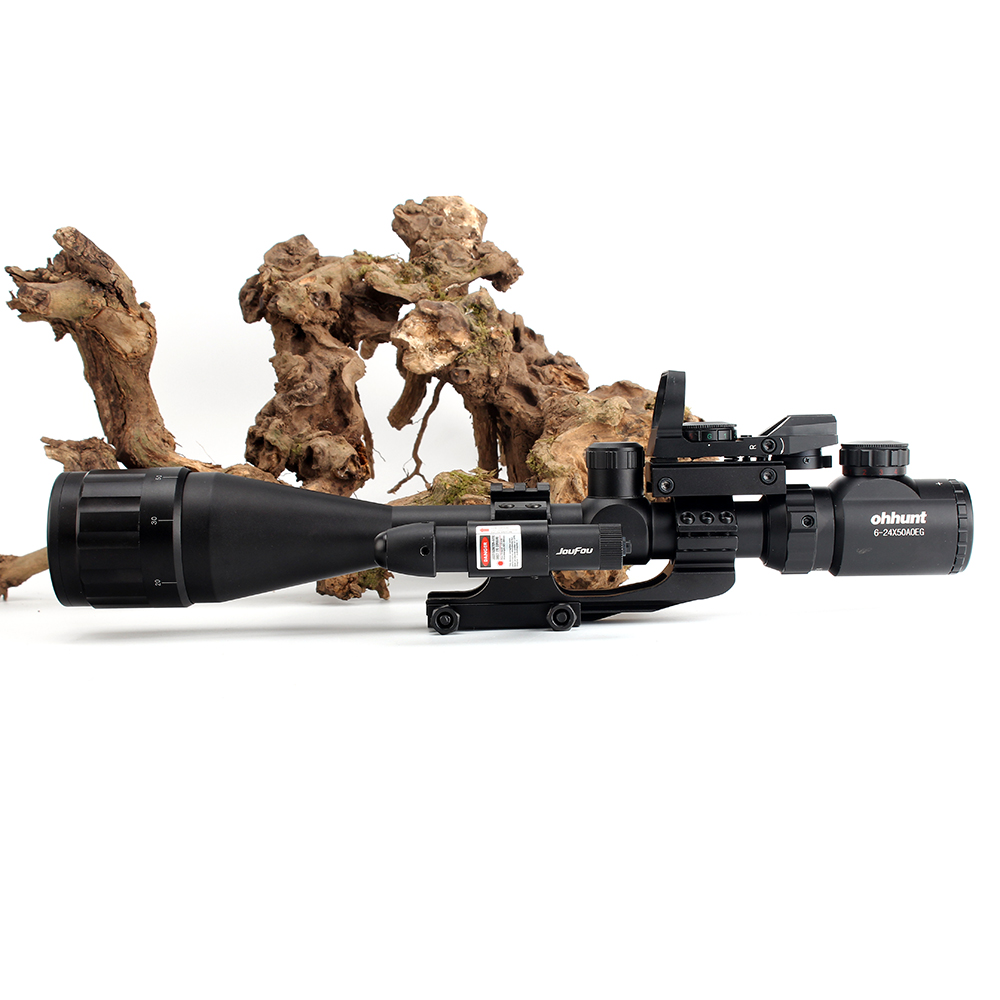 ohhunt 6-24x50 AOEG Hunting Rangefinder Reticle Rifle Scope with Holographic 4 Reticle Sight Red Green Laser Combo Riflescope (4)
