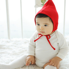 2016 Cute Baby Boy Girl Hats Small Triangle Design Lace-up Baby Kids Hats Solid Sign Babies Beanie Kids Hat Children Cap(China)
