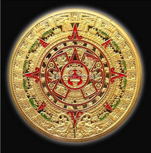 PROPHECY CALENDAR 2012+MAYAN AZTEC gold plated coin sample order+2pcs/lot custom gold coin/Free shipping(China)