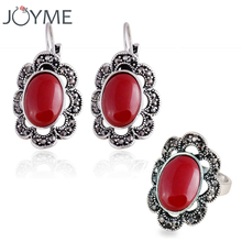 Joyme Turkish Ethnic Jewelry Royla Gem African Marquise Vintage Rose Hollow Out Flower Women Stunning Earring Ring Set