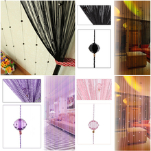 NK DECORATION Fashion 200cm x 100cm Crystal Bead String Line Door Window Bedroom Curtain Room Panel Curtains Scarfs(China)