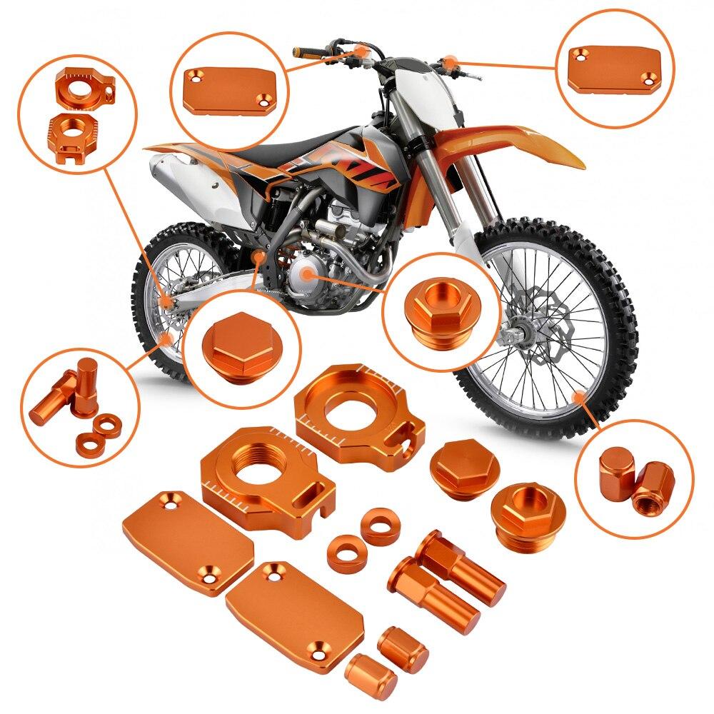 NICECNC Brake Reservoir Cover Oil Filler Plugs Axle Block For KTM 250 350 400 450 500 530 XCW XCF SXF EXC EXC-F Billet Body Kit