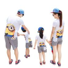 2pc Mother&Kids 2017 summer Children's Clothing sets Family Matching Outfits father son girls Minions t-shirt + Plaid shorts(China)