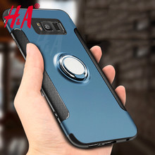 H&A Luxury Shockproof Case For Samsung Galaxy s8 s8 plus case Metal Ring Holder Combo Phone Cover For Samsung S8 S7 edge cases(China)