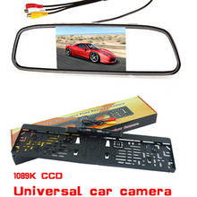 Auto 5' LCD 800*480 Mirror Monitor With Car infrared LED night vision eu License Plate Frame Rearview Camera Pakring assistance
