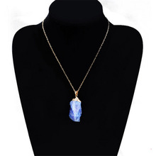New Women Jewelry Party Irregular Necklace Natural Crystal Quartz Stone Pendant Necklace 1PCS(China)