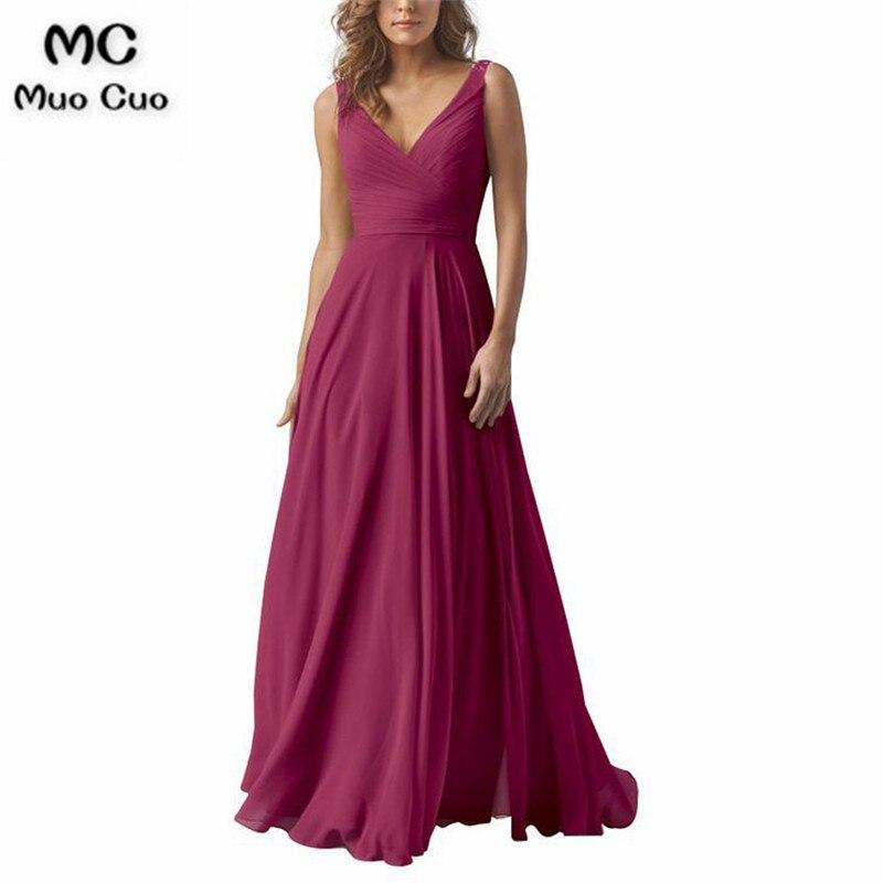 Sleeveless A Line V Neck Chiffon Long Bridesmaid Dresss3