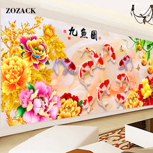 Комплекты крестиком все для ручной работы золотой пион девять рыбы цифра китайский вышивка крестиком узоры вышивания домашнего декора(China)