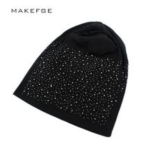 Rhinestone Beanies Women Cap Autumn winter Warm Knitted Cap Solid Color Skullies For Women Girl Hat Fashion Diamond Beanie Hats(China)