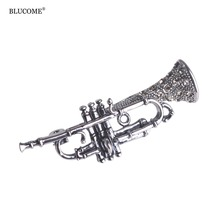 Funmor Musical Trumpet Brooches For Women Crystal Vintage Gold-color broches Garment Jewelry Mujer Badge Metal Collar Pins(China)