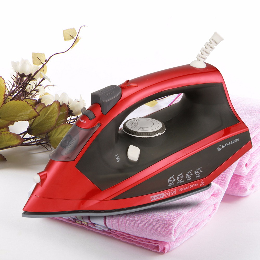 SOARIN 1 PCS Red Steam Iron Portable Temperature Adjusted Ceramic Base Handheld Household Electric Iron<br>