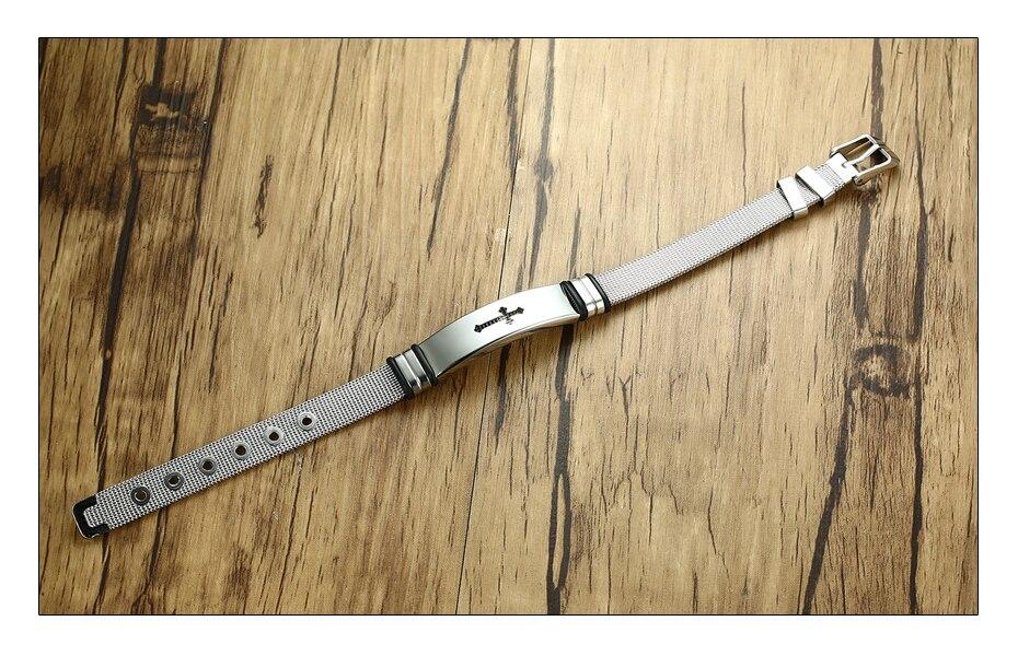 Meaeguet Stainless Steel Cross Bible Charm Bracelet Wristband For Men Adjustable Watch Bands Bracelet Christian Jewelry (3)