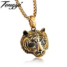 TENGYI Punk Style Tiger Head Pendant Necklaces For Man Gold/Black/Steel Color Jewelry Cool Men Tiger Necklace Animal Design 1184