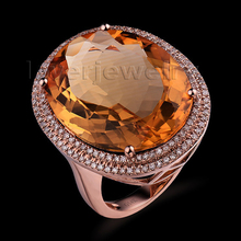 New Oval 18x23mm 14kt Rose Gold Diamond Yellow Citrine Engagement Ring R0014
