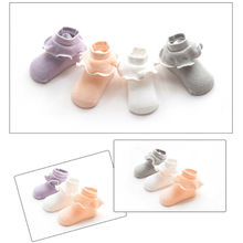 1Pair Toddler Infant Baby Girls Sweet Lace Soft Non-Slip Cotton Ankle Socks Cute Baby Ruffles Solid Socks New On Stocks(China)