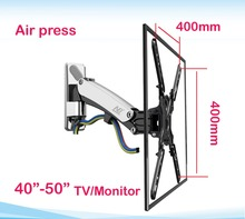 "NB F350 30-50"" retractable air press gas strut VESA400X400 16kg tilt aluminum swivel LCD tv bracket lcd wall mount stand holder"