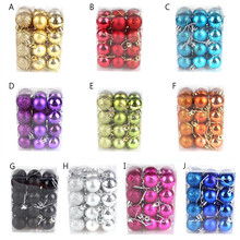 24Pcs/Lot Colorful Glitter Christmas Balls Ornament Hanging Baubles Decoration For Christmas Party Decoration(China)