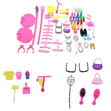 1Set Multicolored Lovely Shoes Bag Mirror Hanger Comb Furniture For Barbie Dolls Accessories Set Toys Child Girls Gifts Hot Sell