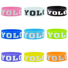 100pcs YOLO You Only Live Once wristband silicone bracelets rubber cuff wrist band bangle free shipping by FEDEX(China)
