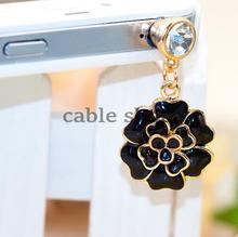 1pcs Black Fashion Style 3.5mm Rose Design Mobile Phone Ear Cap Dust Plug For Iphone For Samsung Dust Plug