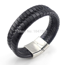 New Arrival Top Quality Stainless Steel Bracelets Bangles Mens Gift Black Leather Knitted Magnetic Clasp Bracelet Men Jewelry(China)