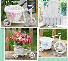 Free shipping PE storage rattan tricycle crafts vase artificial flowers basket container wedding decor dining table
