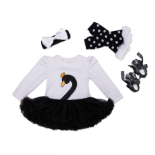 2017 Spring Fashion Baby Clothes Swan Newborn Romper Do Beb Menia With Tutu Dress+Headband+Shoes+Legging 4pcs/set Baby Clothing