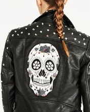 Women's Punk Rivet Studded Motorcycle PU Leather Spike Jacket Autumn Winter European Style Clothing Outerwear Women Coats 2017
