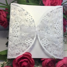 50pcs White Butterfly Romantic Wedding Party Invitation Card Delicate Carved Pattern with Ribbon Wedding Party Supplies