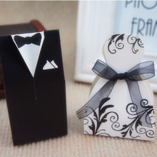 Free shipping 200pcs/lot bride and groom tuxedo European candy box, black and white dress packing box, XTH-10